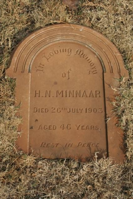 Gravestone of Hendrik Nicolaas MINNAAR (d. 1903)Main Cemetery, Potchefstroom, North West Province, South Africa Used with permission